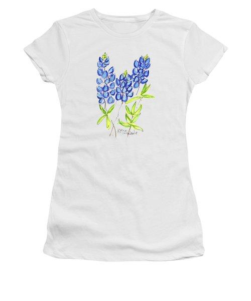 Texas State Flower The Bluebonnet Women's T-Shirt (Junior Cut) by Kathleen McElwaine