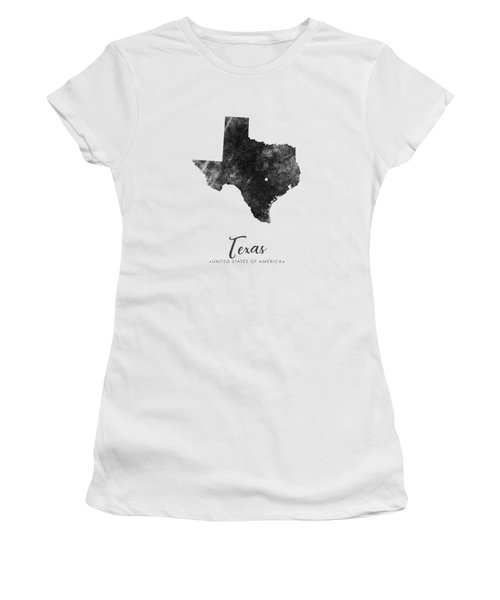 Texas State Map Art - Grunge Silhouette Women's T-Shirt (Athletic Fit)