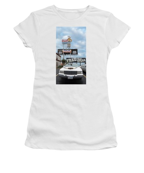 Texas Steak House Kitsch  Women's T-Shirt (Athletic Fit)