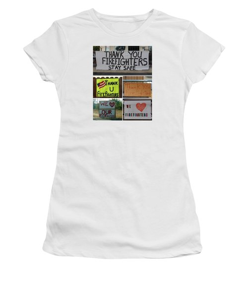 Thank You Firefighters Collage Women's T-Shirt (Junior Cut) by Patricia Strand