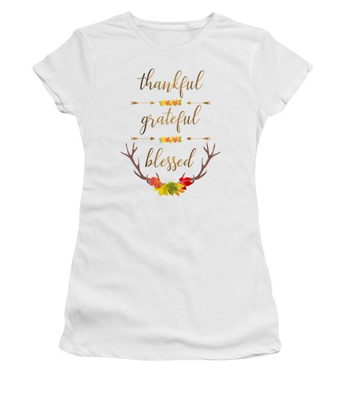 Thankful Grateful Blessed Fall Leaves Antlers Women's T-Shirt (Athletic Fit)