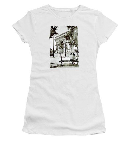 The Arc De Triomphe Paris Black And White Women's T-Shirt (Junior Cut) by Marian Voicu