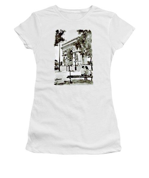 The Arc De Triomphe Paris Black And White Women's T-Shirt