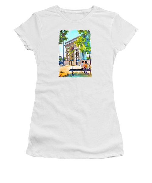 The Arc De Triomphe Paris Women's T-Shirt (Junior Cut) by Marian Voicu