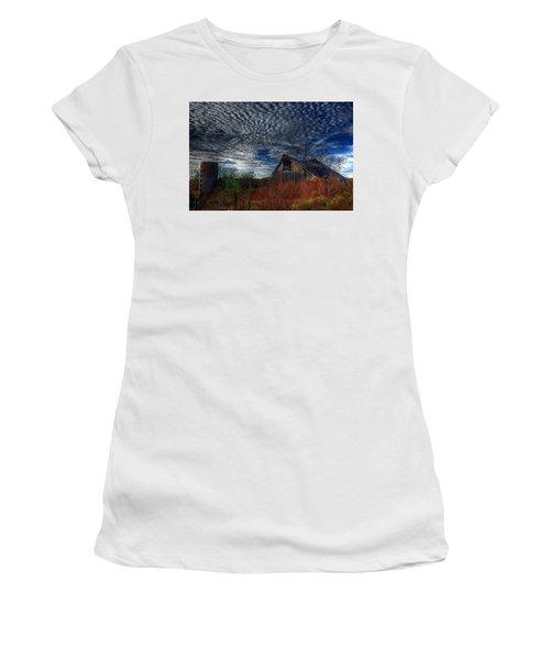 The Barn At Twilight Women's T-Shirt (Junior Cut) by Karen McKenzie McAdoo