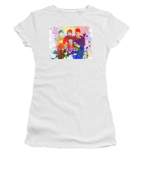 Women's T-Shirt featuring the painting The Beatles Paint Splatter  by Dan Sproul