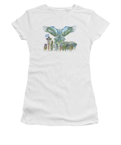 The Blue And Green Overlay Women's T-Shirt (Junior Cut) by Julie Senf