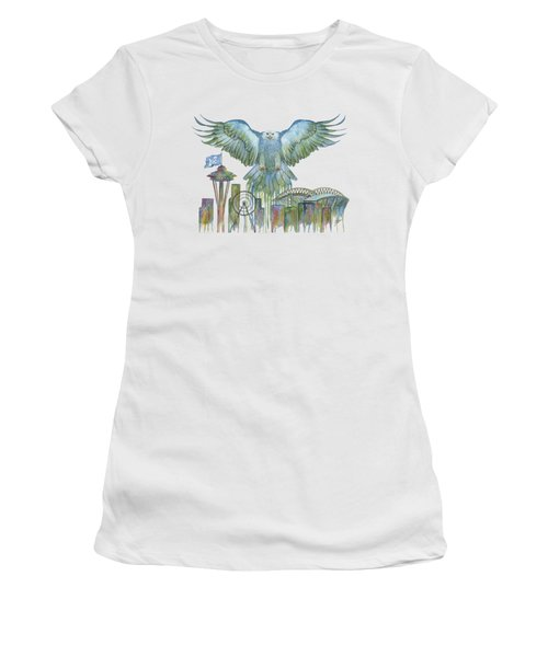 The Blue And Green Overlay Women's T-Shirt (Athletic Fit)