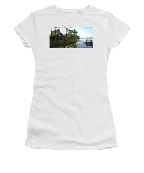 The Boathouse At Watercolor Women's T-Shirt (Junior Cut) by Megan Cohen