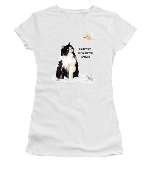Women's T-Shirt (Junior Cut) featuring the painting The Cat's Hors D'oeuvres by Colleen Taylor