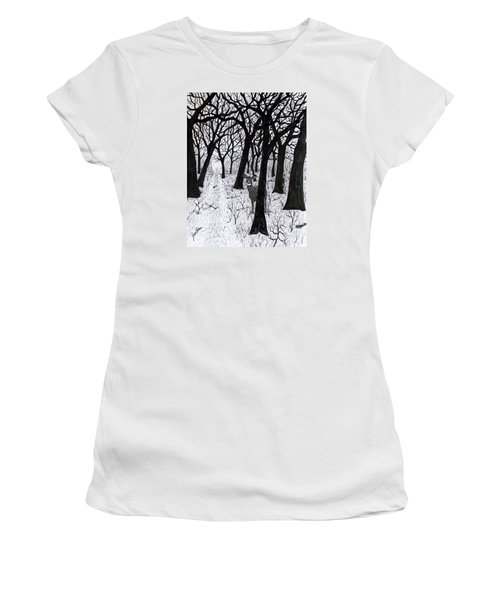 Women's T-Shirt (Junior Cut) featuring the drawing The Crossing  160120 by Jack G Brauer