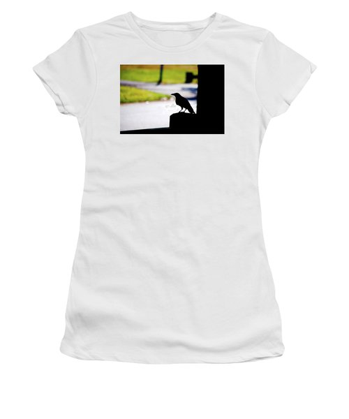 Women's T-Shirt (Junior Cut) featuring the photograph The Crow Awaits by Karol Livote