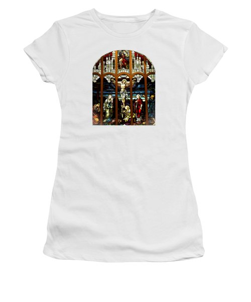 The Crucifixion Of Jesus On Good Friday Stained Glass Window Women's T-Shirt