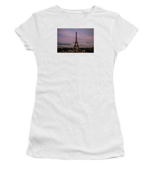 Women's T-Shirt (Junior Cut) featuring the photograph The Eiffel Tower At Sunset by Jean Haynes