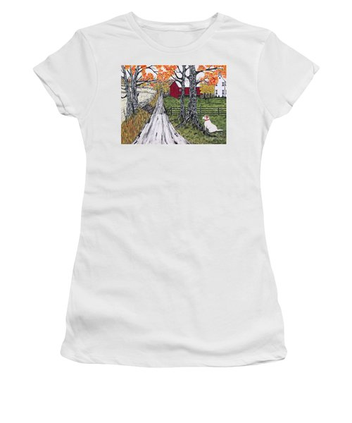 Sadie The Farm Dog Women's T-Shirt (Junior Cut) by Jeffrey Koss
