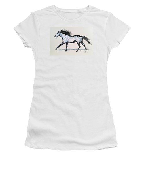The Framed American Paint Horse Women's T-Shirt (Junior Cut) by Cheryl Poland