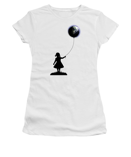 The Girl That Holds The World - White  Women's T-Shirt (Athletic Fit)