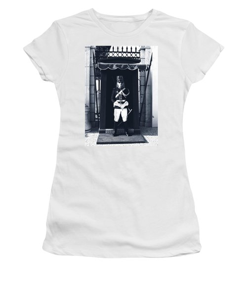 Women's T-Shirt featuring the photograph The Guard At The Palace by Lorraine Devon Wilke