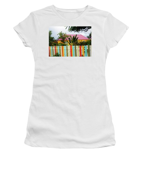 Women's T-Shirt (Junior Cut) featuring the photograph The Happy House, Island Of Curacao by Kurt Van Wagner
