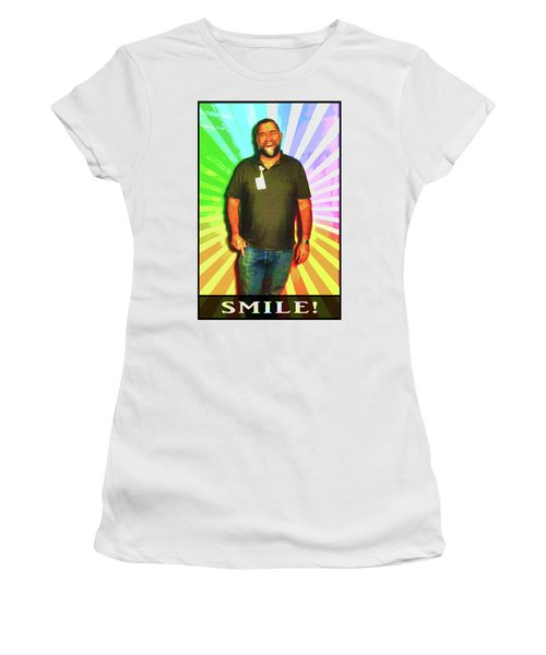 Women's T-Shirt (Athletic Fit) featuring the mixed media The Healing Smile Mosaic by Shawn Dall