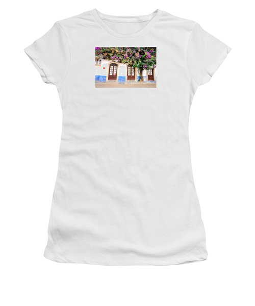 Women's T-Shirt (Junior Cut) featuring the photograph The House With The Bougainvillea by Marwan Khoury