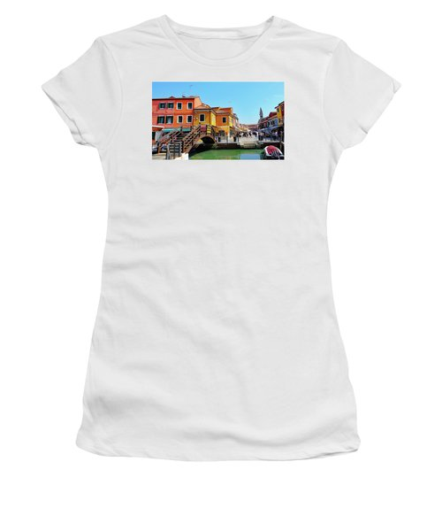 The Main Street On The Island Of Burano, Italy Women's T-Shirt (Athletic Fit)