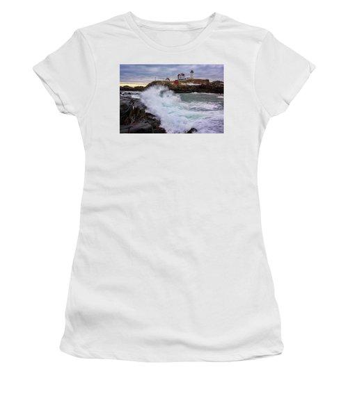 The Nubble After A Storm Women's T-Shirt (Junior Cut) by Rick Berk