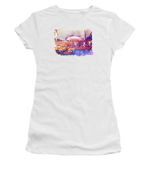 The Pantheon Rome Watercolor Streetscape Women's T-Shirt (Athletic Fit)