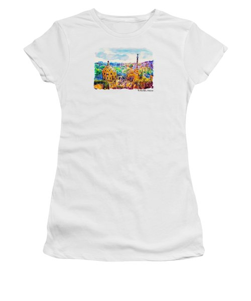 Park Guell Barcelona Women's T-Shirt (Junior Cut) by Marian Voicu