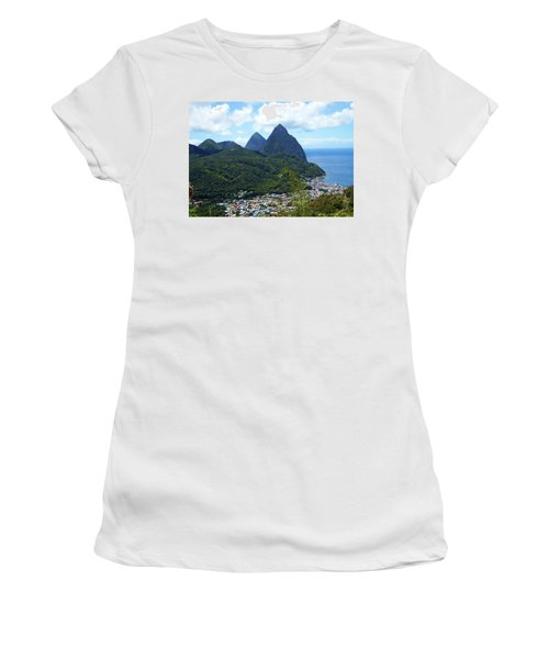 Women's T-Shirt (Junior Cut) featuring the photograph The Pitons, St. Lucia by Kurt Van Wagner