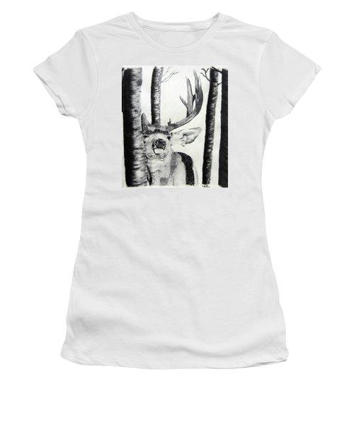 Women's T-Shirt (Junior Cut) featuring the drawing The Rutt by Mayhem Mediums