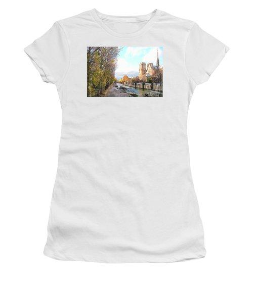 Women's T-Shirt (Junior Cut) featuring the photograph The Seine And Quay Beside Notre Dame, Autumn by Felipe Adan Lerma