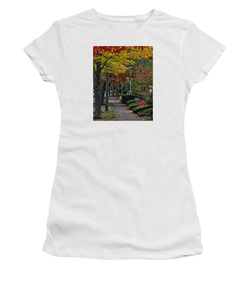 Women's T-Shirt (Junior Cut) featuring the photograph The Sidewalk And Fall by Kirt Tisdale