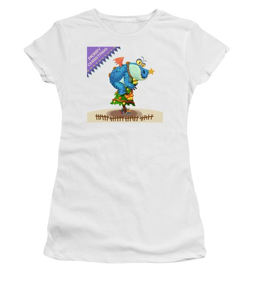 The Sloth Dragon Monster Comes To Wish You Merry Christmas Women's T-Shirt (Junior Cut) by Next Mars