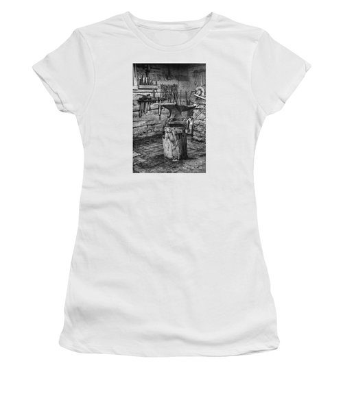 Women's T-Shirt (Junior Cut) featuring the photograph The Smithy's Work Awaits by William Fields