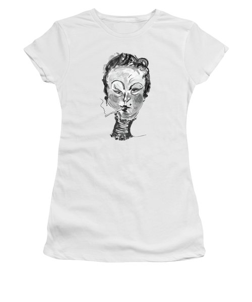 Women's T-Shirt (Junior Cut) featuring the mixed media The Smoker - Black And White by Marian Voicu