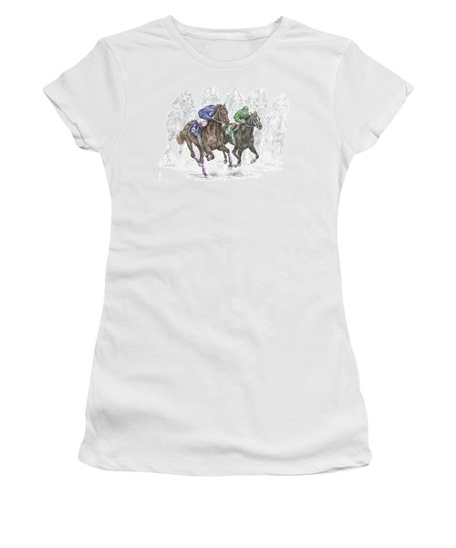 The Thunder Of Hooves - Horse Racing Print Color Women's T-Shirt