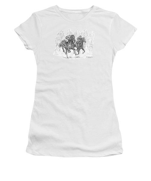 The Thunder Of Hooves - Horse Racing Print Women's T-Shirt (Athletic Fit)