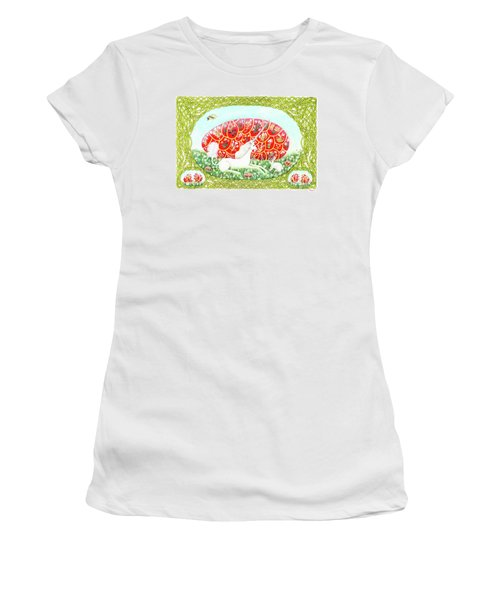 Women's T-Shirt (Athletic Fit) featuring the painting The Unicorn And The Egg by Lise Winne