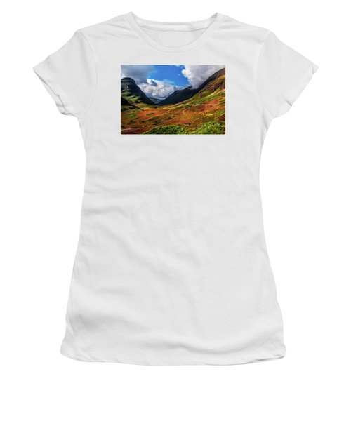 The Valley Of Three Sisters. Glencoe. Scotland Women's T-Shirt (Junior Cut) by Jenny Rainbow