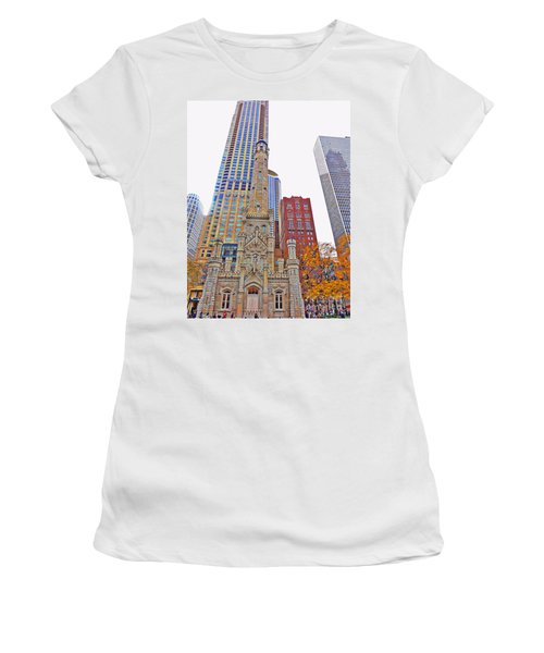 The Water Tower In Autumn Women's T-Shirt (Junior Cut) by Mary Machare