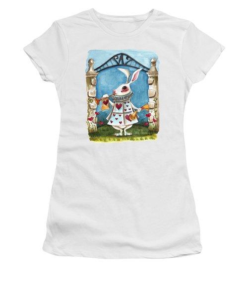The White Rabbit Announcing Women's T-Shirt (Junior Cut) by Lucia Stewart