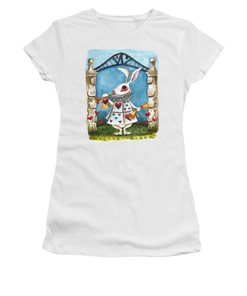 The White Rabbit Announcing Women's T-Shirt (Athletic Fit)