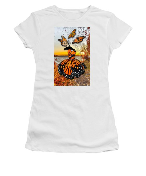 Women's T-Shirt (Athletic Fit) featuring the mixed media The Wonder Of You by Marvin Blaine