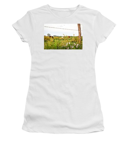 Women's T-Shirt featuring the photograph The Wrong Side Of The Fence by Melinda Ledsome