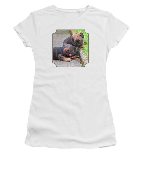 They Can Still See You - Border Terrier Puppies Women's T-Shirt