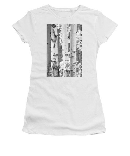 Three Aspens In Black And White  Women's T-Shirt