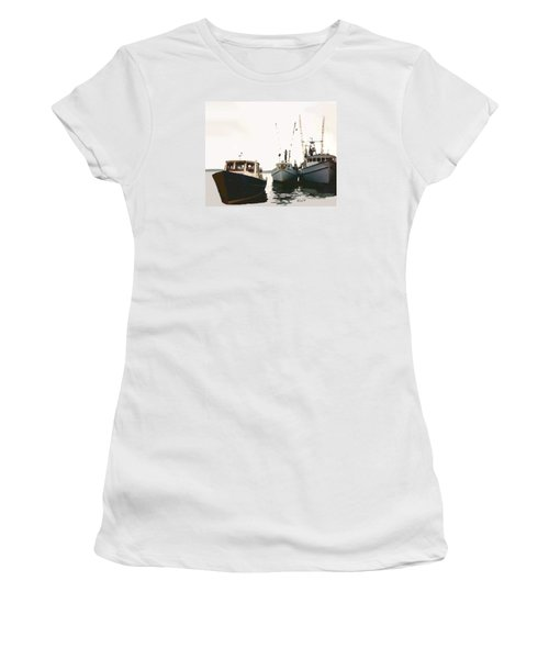 Women's T-Shirt (Junior Cut) featuring the photograph Three Boats by Walter Chamberlain
