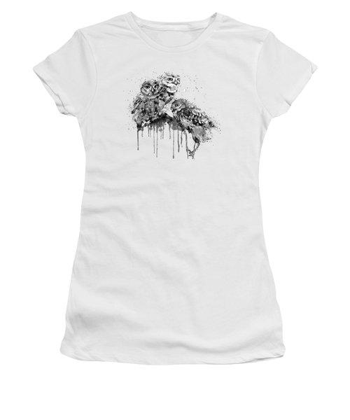 Three Cute Owls Black And White Women's T-Shirt