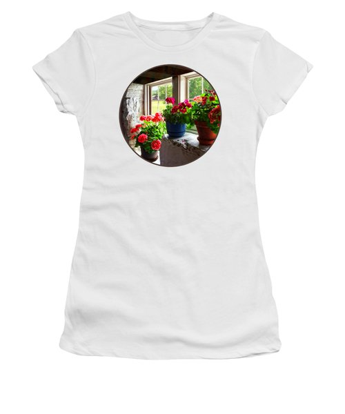 Three Pots Of Geraniums On Windowsill Women's T-Shirt